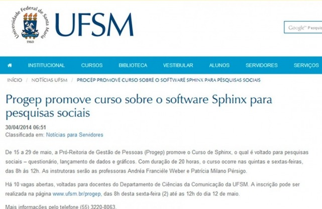 Site da UFSM – Universidade Federal de Santa Maria